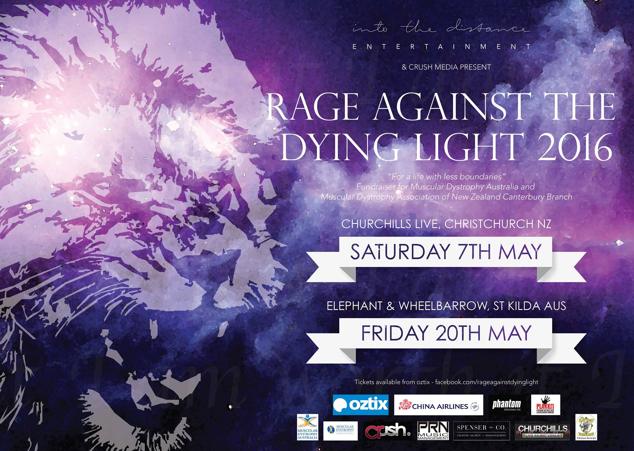 TEN THOUSAND TO HEADLINE THE INAUGURAL 'RAGE AGAINST THE DYING LIGHT' MELBOURNE SHOW